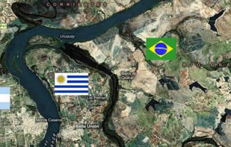 Frontières entre l'Argentine, le Paraguay, le Brés